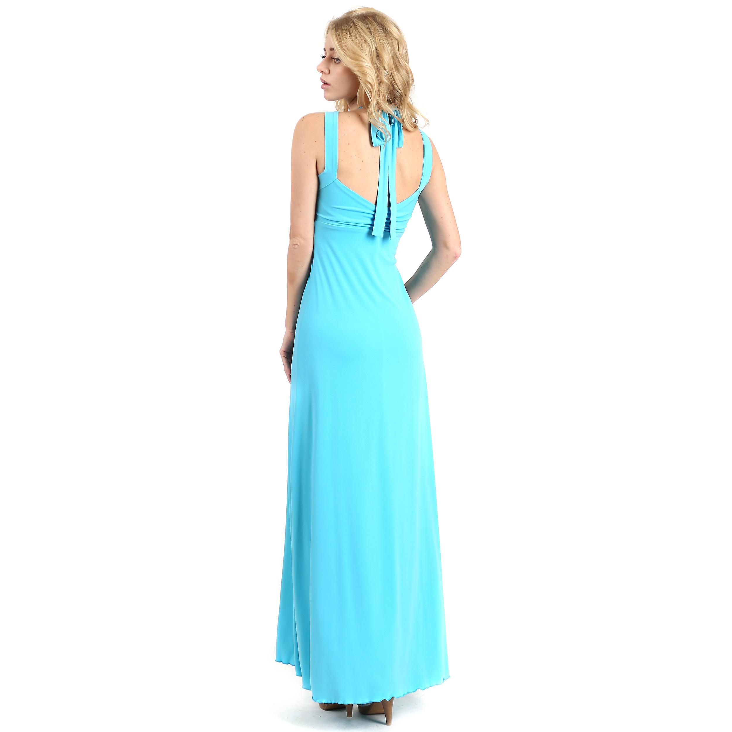 Evanese Women\'s Elegant Cross Tie Halter Long Formal Party Dress ...