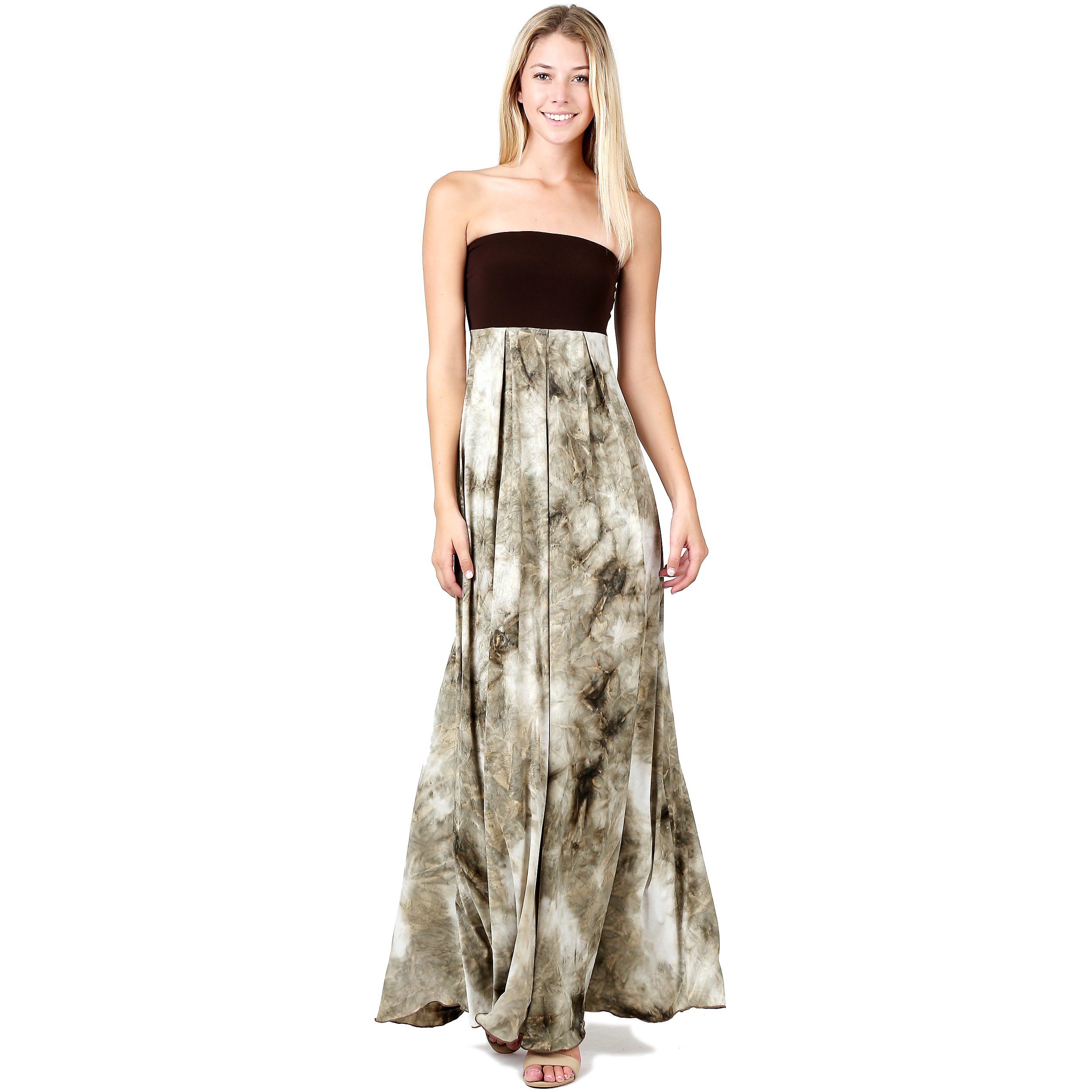 4fbc36a7c Evanese Women's Cocktail Strapless Tube Tie dye Print Maxi Long Dress is a  sassy addition to your closet. This long dress features contrast strapless  tube ...