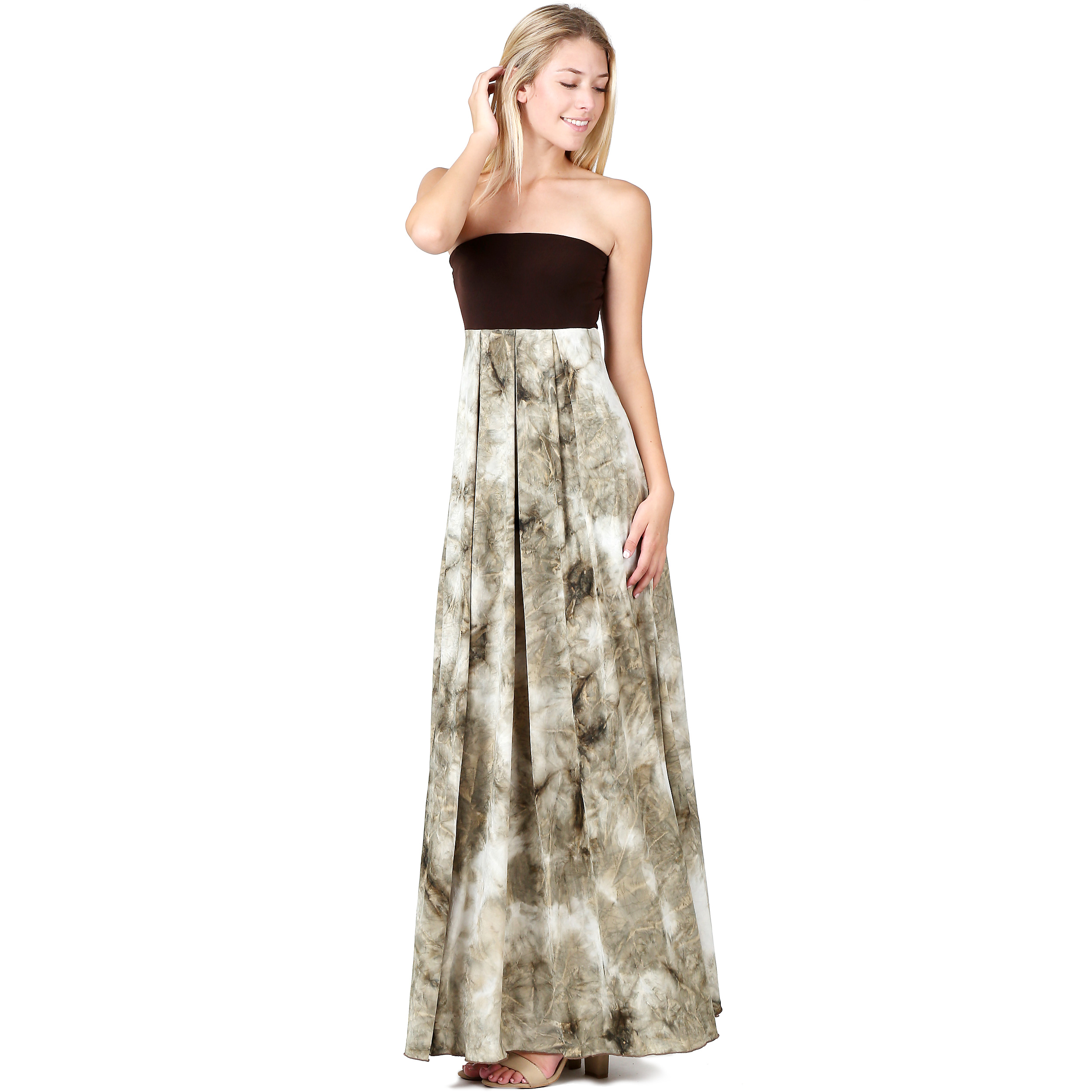 7d80d870b48 Evanese Women s Cocktail Strapless Tube Tie dye Print Maxi Long Dress is a sassy  addition to your closet. This long dress features contrast strapless tube  ...