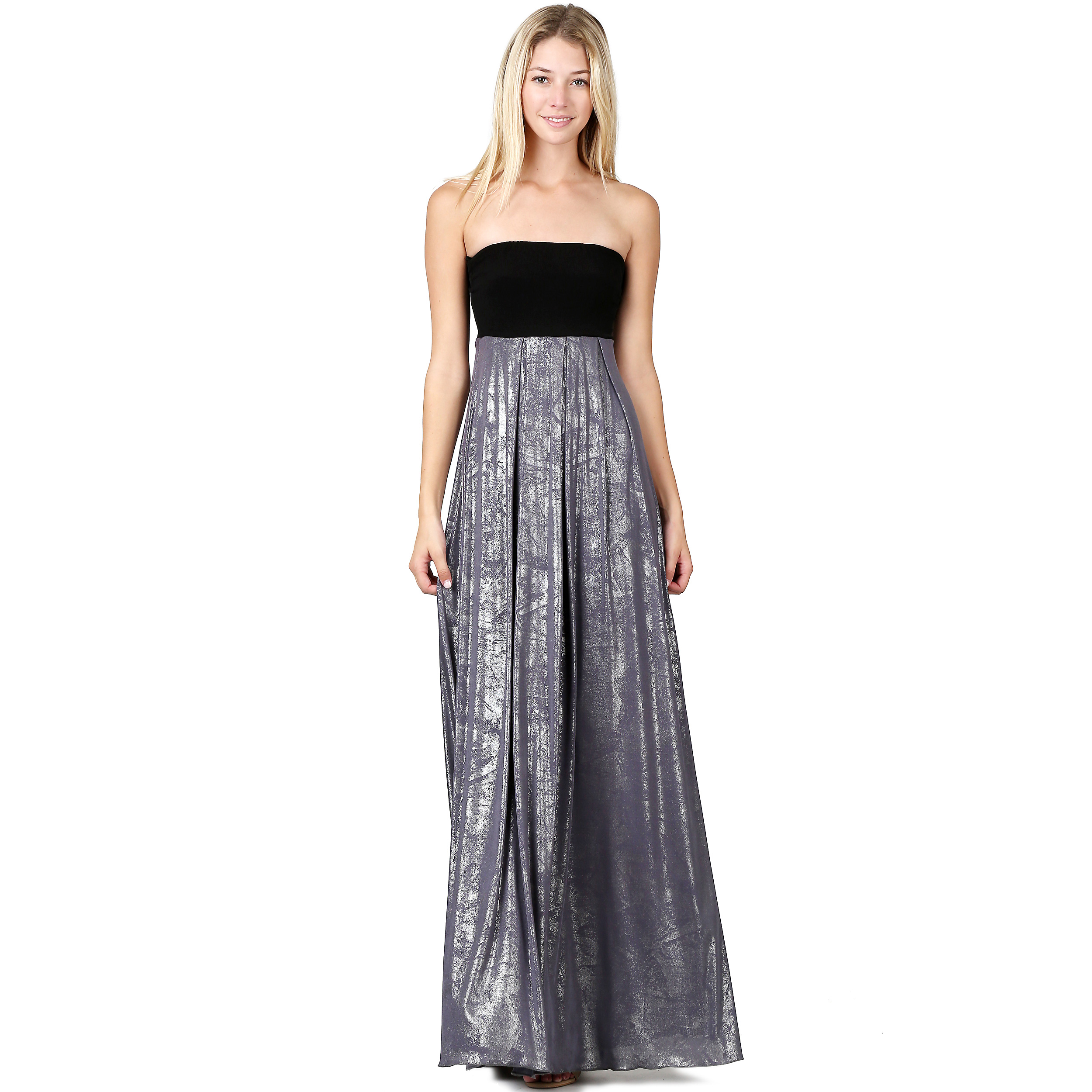 Evanese Women\'s Elegant Cocktail Strapless Tube Metallic Print Maxi ...