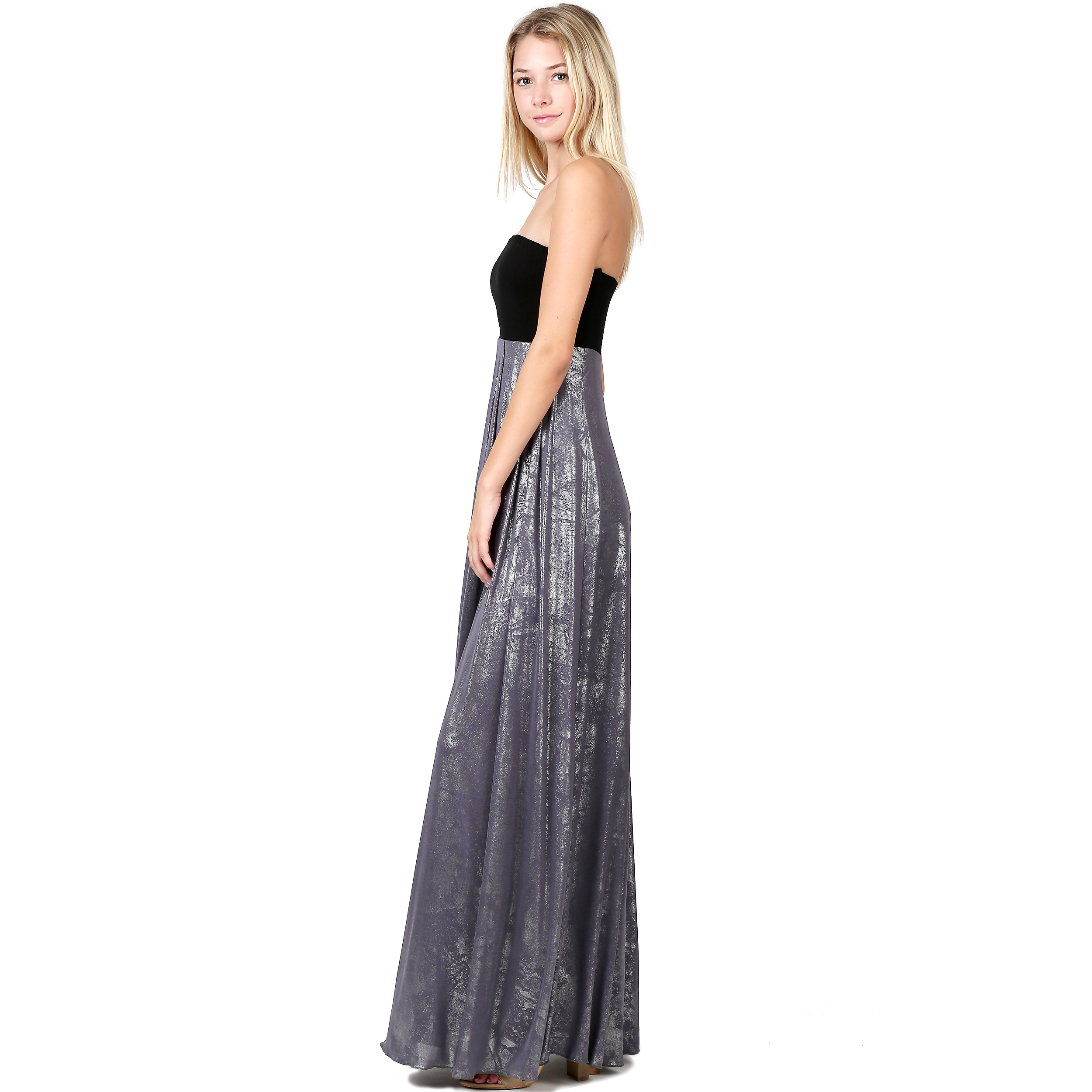 195400c96e Evanese Women s Cocktail Strapless Tube Metallic Print Maxi Long Dress is a  gorgeous addition to your closet. This long dress features contrast  strapless ...