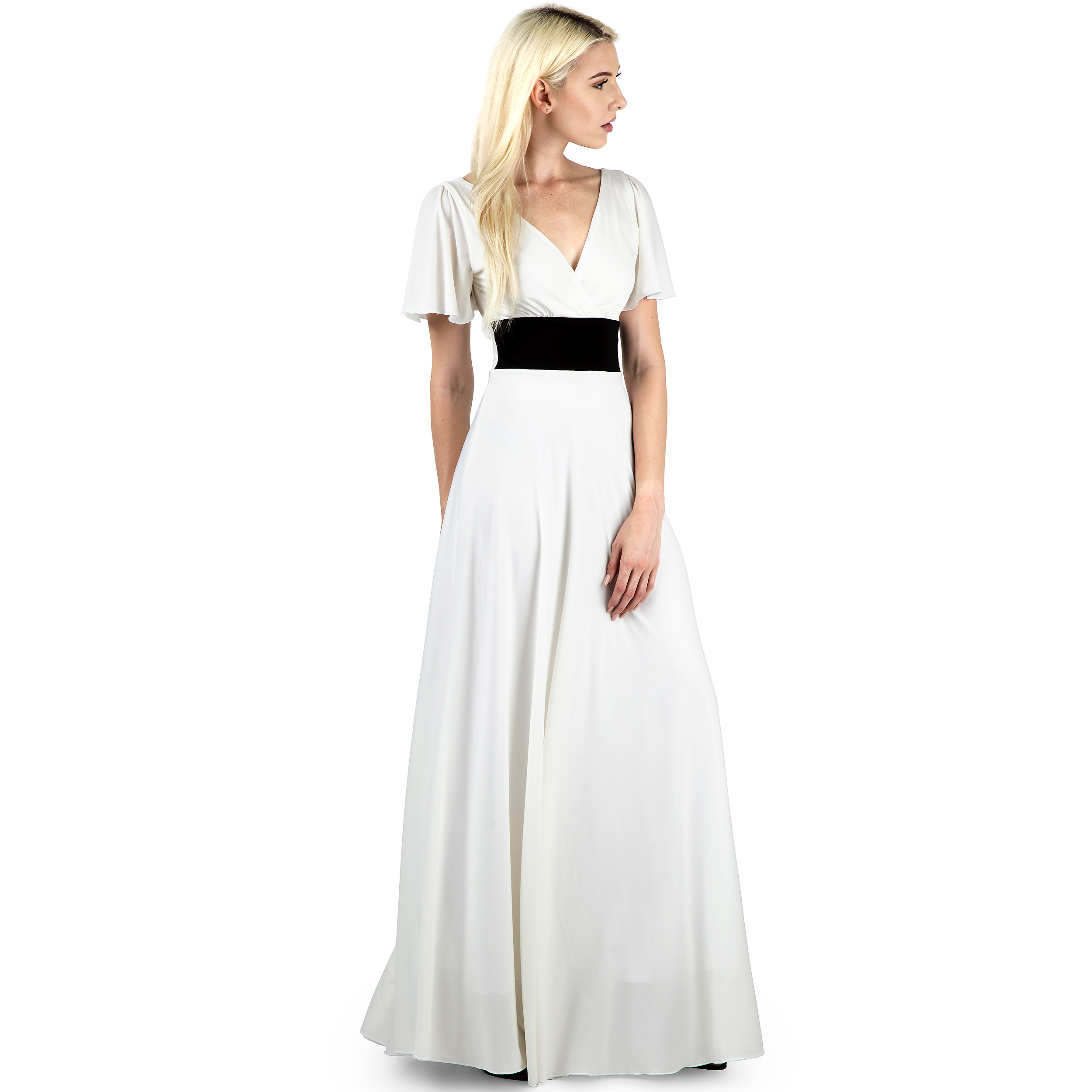 9cc5b8097a6f Evanese Women's Elegant Slip on Short Sleeves Evening Party Formal Long  Dress - D7510, Creme/Black