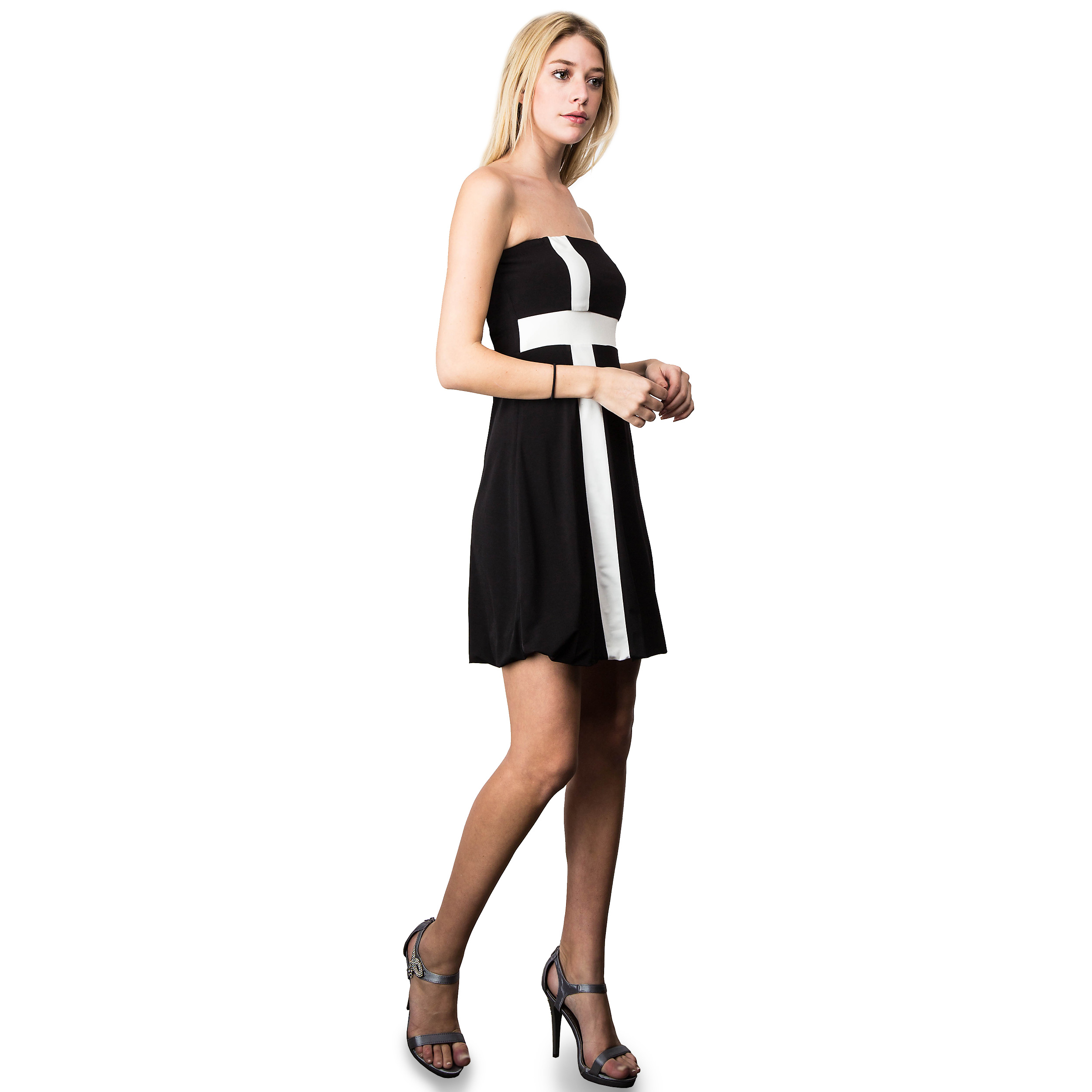 Evanese Women\'s Cross Color Block Strapless Tube Casual ...